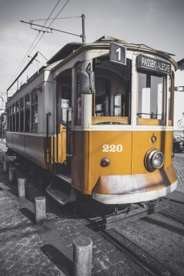 Sticker Desaturated picture of the Porto trolley except for its particular yellow.
