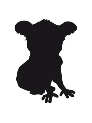 Sticker design koala black silhouette cool comic sitting outline shadow