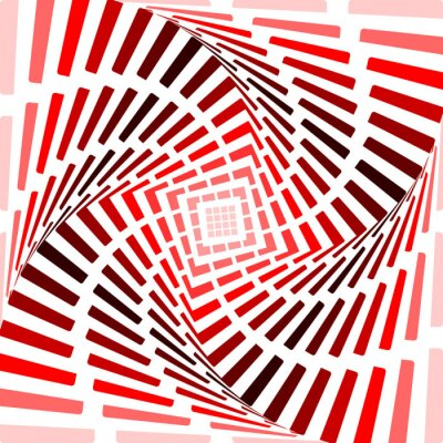 Sticker Design red twirl movement illusion background. Abstract strip to