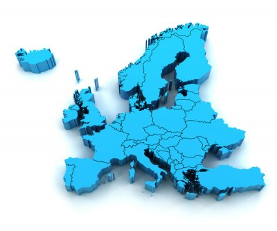 Sticker Detail Europe map with national borders