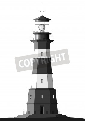 Sticker detailed lighthouse isolated on white