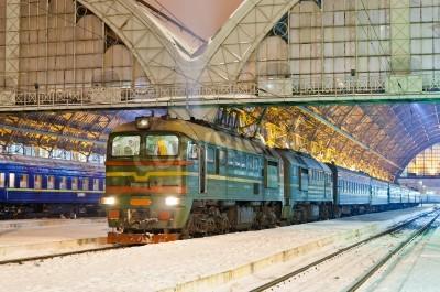 Sticker Diesel passenger train in Lviv, Ukraine