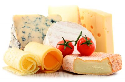 Sticker Different sorts of cheese isolated on white background