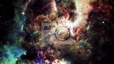 Sticker Digital abstract of a bright and colorful nebula galaxy and stars