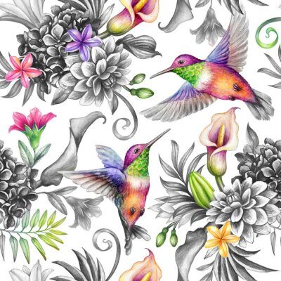 Sticker digital watercolor botanical illustration, seamless floral pattern, wild tropical flowers, humming birds, white background. Paradise garden day. Palm leaves, calla lily, plumeria, hydrangea, gerber