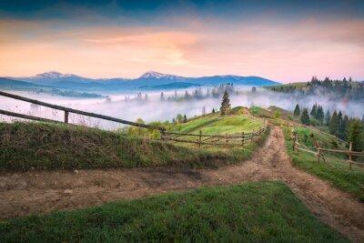 Dirty roads through the carpathian valley