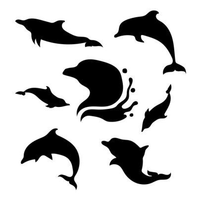 Sticker Dolphin set vector