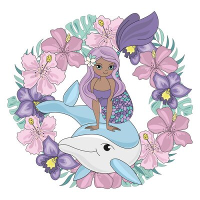 Sticker DOLPHIN WREATH Floral Mermaid Cartoon Underwater Sea Ocean Cruise Travel Tropical Animal Vector Illustration Set for Print Fabric and Decoration