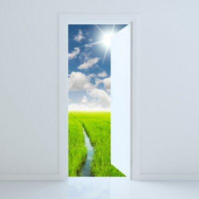 Sticker door open to beauty green field