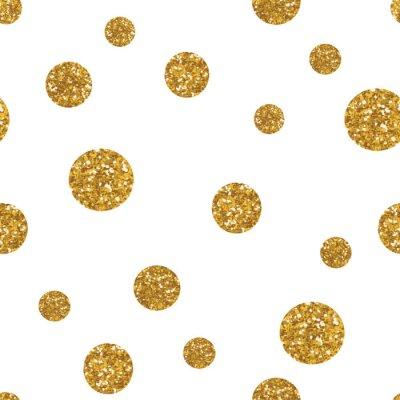 Sticker Dots seamless pattern with golden glitter texture.