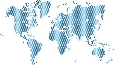 Sticker Dots world map on white background, vector illustration.