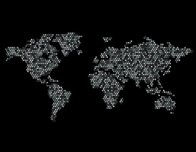 Sticker Dotted Map of the World Continents Random Gray