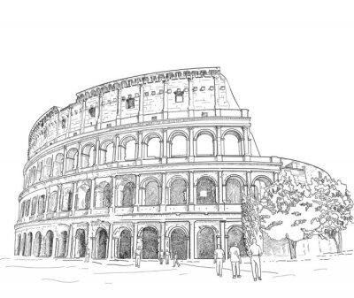 Sticker Drawing Roman Colosseum