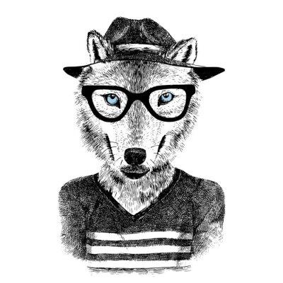Sticker Dressed up wolf