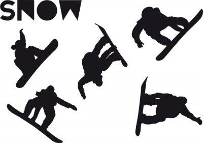 Sticker Druck Snowboarder jump set