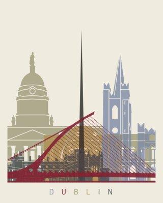 Sticker Dublin skyline poster
