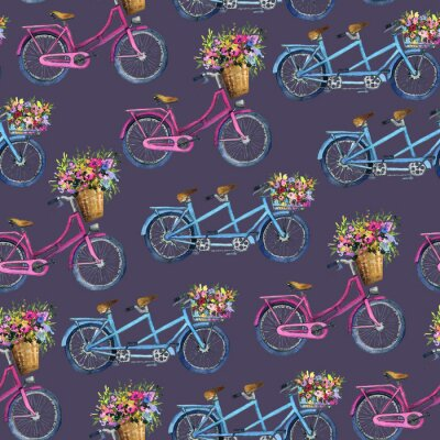 Sticker eamless pattern with bicycles and flowers