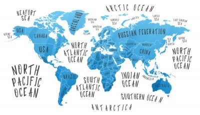 Sticker Earth map with the name of the countries