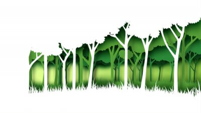 Sticker Eco green nature forest background template.Forest plantation with ecology and environment conservation creative idea concept paper art style.Vector illustration.