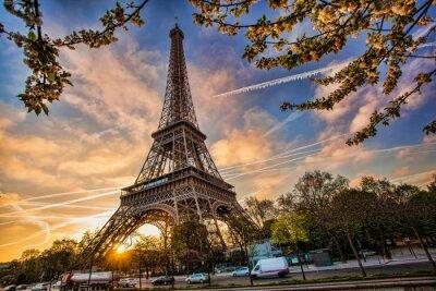 Sticker Eiffel Tower against sunrise  in Paris, France