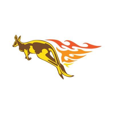 Sticker Elegant Kangaroo Flame