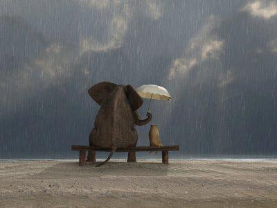 Sticker elephant and dog sit under the rain