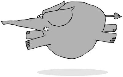 Sticker Elephant running scared