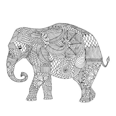 Sticker Elephant with floral decoration