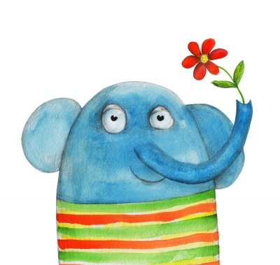 Sticker Elephant with flower. Watercolor