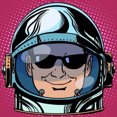 Sticker emoticon spy Emoji face man astronaut retro