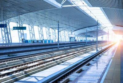 Sticker empty railway platform background
