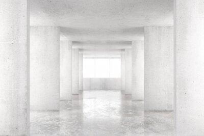 Sticker Empty room with concrete walls, concrete floor and big window, 3