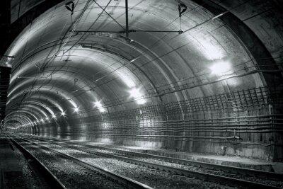 Sticker Empty subway tunnel