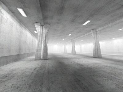 Sticker  Empty underground parking area 3D rendering