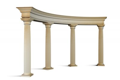 Sticker Entrance group with columns in the classical style on a white. 3
