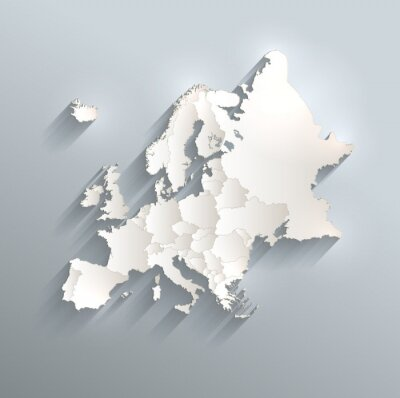 Sticker Europe political map flag 3D vector individual states separate