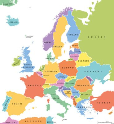 Sticker Europe single states political map. All countries in different colors, with national borders and country names. English labeling and scaling. Illustration on white background.