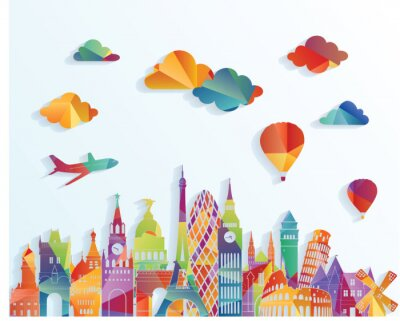 Sticker Europe skyline. Vector illustration