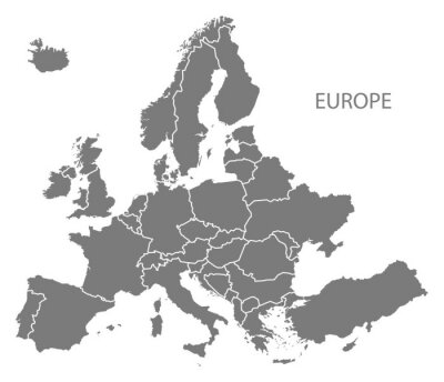 Sticker Europe with countries Map grey