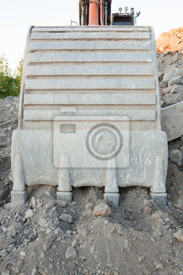 Sticker excavator bucket closeup.