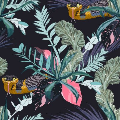 Sticker Exotic leaves and branches, many kinds of plants and yellow snake seamless pattern. Tropical night. White background.