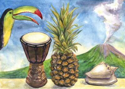 Sticker Exotic still life. Watercolor painting. Pineapple, drum, Toucan, sea shell, volcano