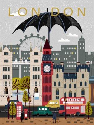 Sticker eye-catching United Kingdom travel poster