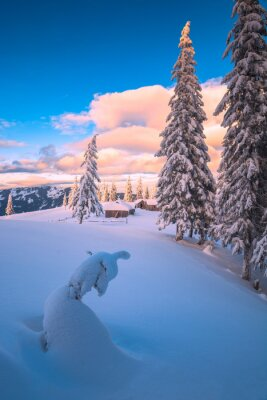 Fabulous winter picture of mountain village