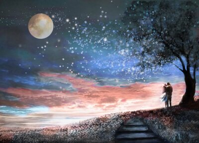Sticker Fantasy illustration with night sky and MilkyWay, stars moon. woman and man under an tree looking at the space landscape. floral meadow and stairs.  Painting.