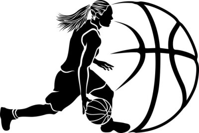 Sticker Female Basketball Dribble Sihouette with Ball