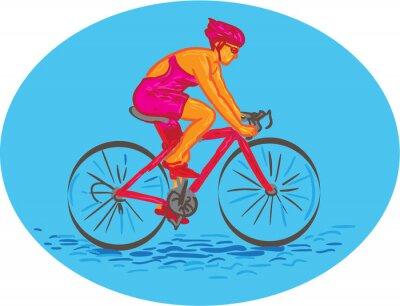Sticker Female Cyclist Riding Bike Drawing