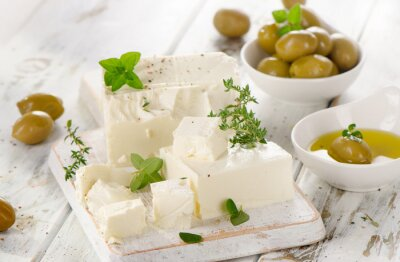 Sticker Feta cheese with green olives.