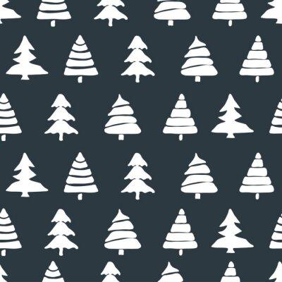 Sticker Fir tree seamless pattern