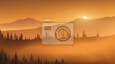 Sticker First golden rays of rising sun in a foggy mountain valley. Wild nature. Vector illustration, EPS 10.